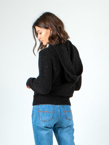 ALEXA HOODED KNIT SWEATER - BLACK WASH