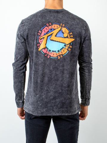 SUNSET LONG SLEEVE TEE - BLACK WASH