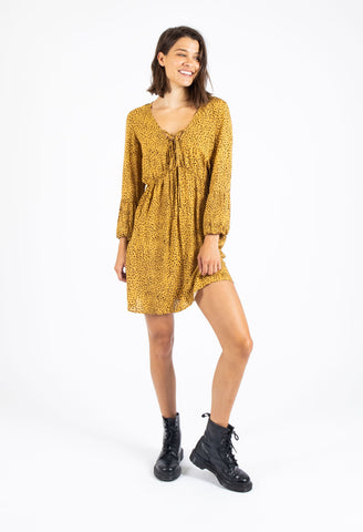 SURFACE MINI DRESS - MUSTARD FLECK