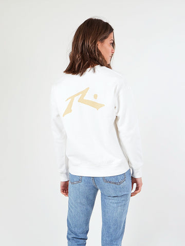 RIVAL CREW NECK FLEECE - WHITE