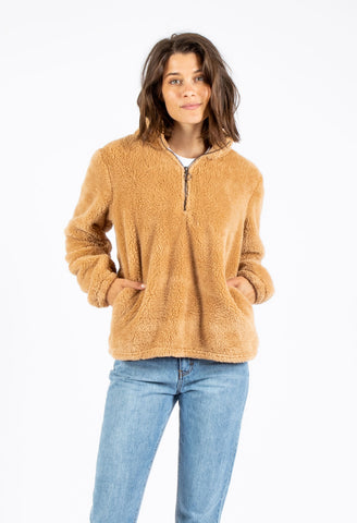 MORNING ZIP FLEECE - CARAMEL