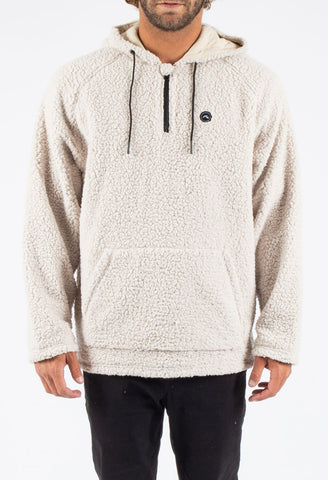 BANDWAGON HOODED FLEECE - WASHED BONE