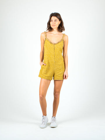 CARLY MINI ROMPER - MUSTARD PEBBLES