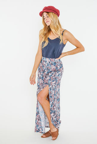CROWNED FLORAL MAXI SKIRT - BLUE ASHES