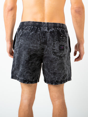 ACID HOUSE ELASTIC SHORT - BLACK WASH