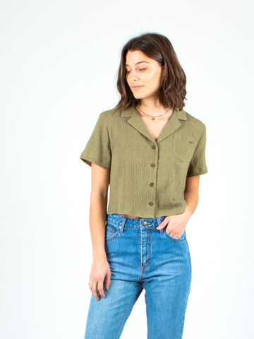 FINCH SHORT SLEEVE SHIRT - ARMY GREEN