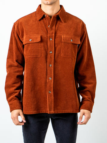 COOP CORDUROY LONG SLEEVE SHIRT - BROWN RUST