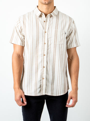 STRAIGHT LINES SHORT SLEEVE SHIRT - VINTAGE CREAM