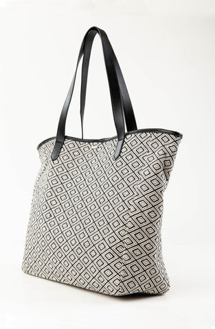 IMANE BEACH BAG - BLACK / WHITE