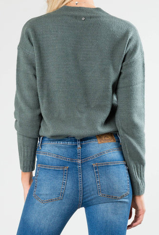 TOGETHER VEE NECK KNIT - EVERGREEN
