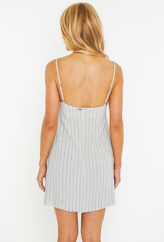 HEARTBREAKER STRIPE MINI DRESS - SABLE