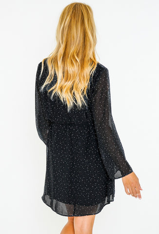 CHARMED LONG SLEEVE DRESS - BLACK