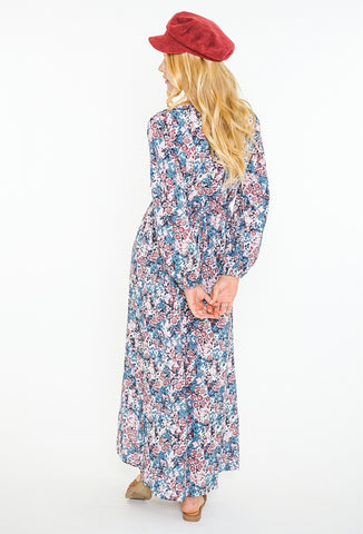 CROWDED FLORAL CROP MAXI DRESS - BLUE ASHES