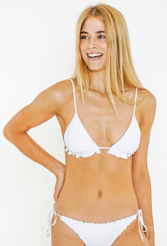 SANDALWOOD TRIANGLE BIKINI TOP - BRIGHT WHITE