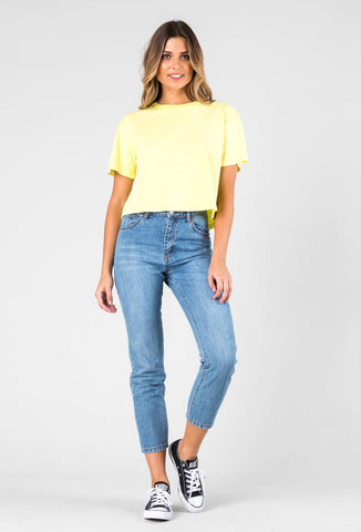 NEON BC CROP TEE - BRIGHT LEMON