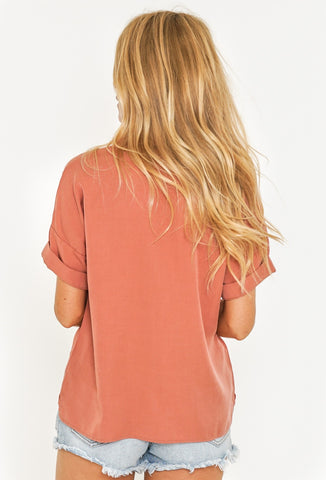 ARIES SHORT SLEEVE SHIRT - DUSTY PEACH