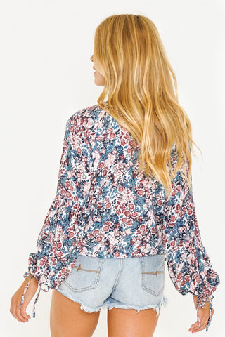 CROWDED FLORAL LONG SLEEVE SHIRT - BLUE ASHES