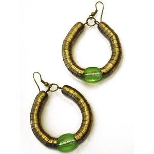 BOLD SEA GREEN AND GOLD HOOPS