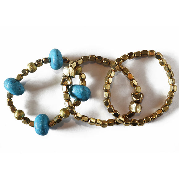 BLUE & GOLD MARBLE BRACELET SET