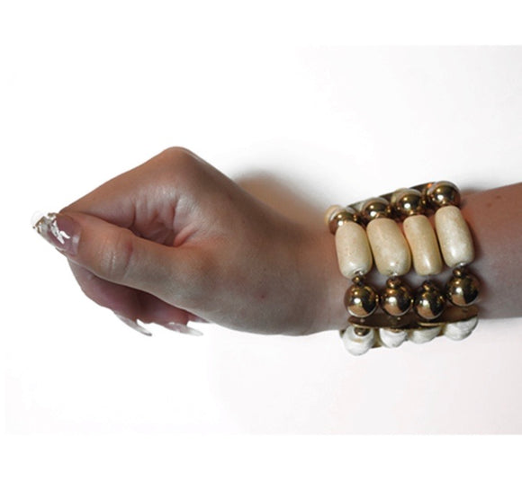 IVORY AND GOLD WRAP AROUND BRACELET