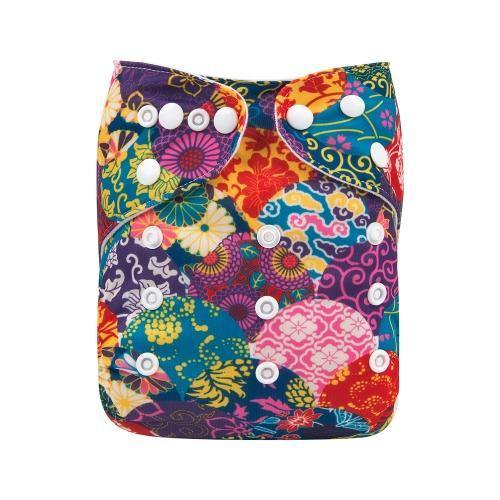AlvaBaby One Size Patchwork Pocket Nappy.