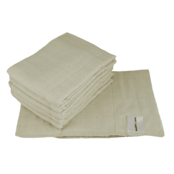 Muslinz Prefold Size 2 (Infant) - 6 pack - Unbleached.
