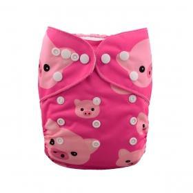 AlvaBaby One Size Pink Piggies Pocket Nappy