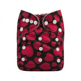 AlvaBaby One Size Black Hearts Pocket Nappy