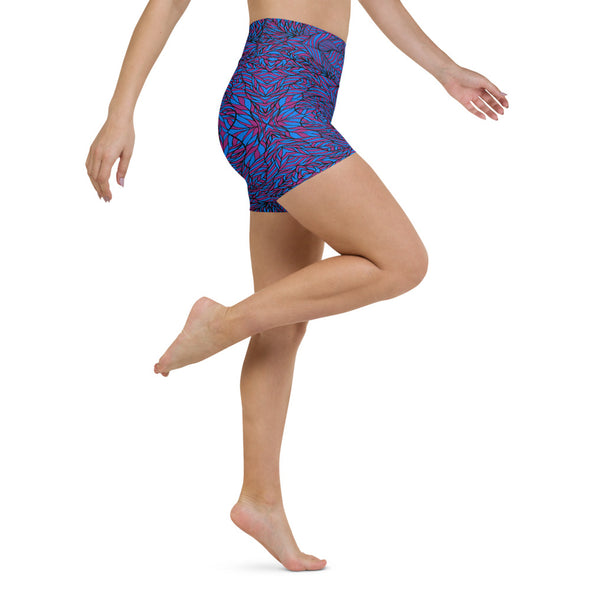 Bleace Botanical Purple & Blue Activewear Yoga Shorts