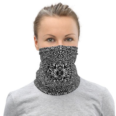 Black & White Botanical Neck Gaiter