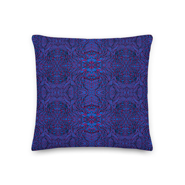 Botanical Purple & Blue Premium Pillow