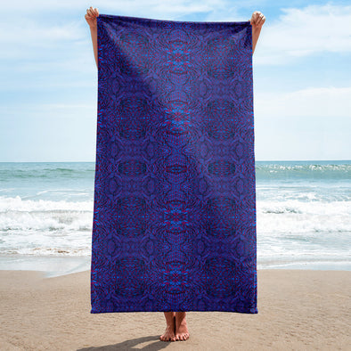 Botanical Purple & Blue Towel