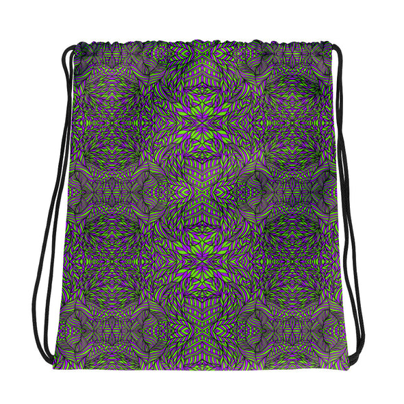Botanical Green & Purple Drawstring bag