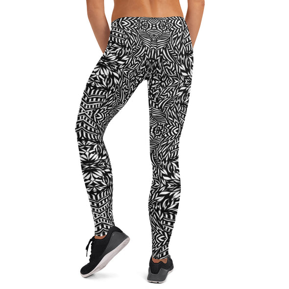 Black & White Botanical Series Leggings