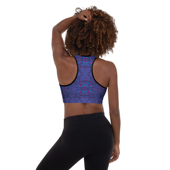 Botanical Purple & Blue Padded Sports Bra