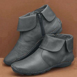 FreeWalk™ Women Casual Side-Zipper Flat Ankle Boots