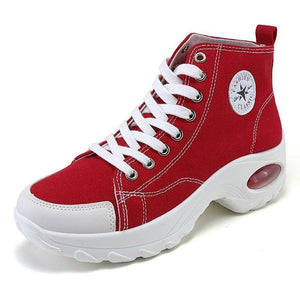 Women's Athletic High-Top Canvas Lace-Up Air Cushion Sneakers