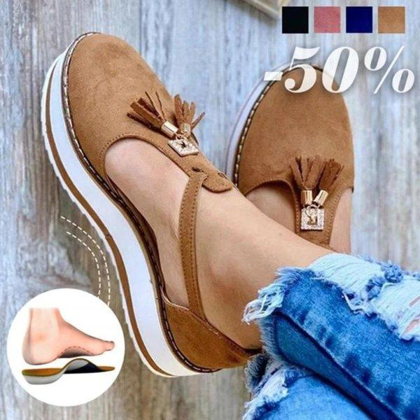 #No.1 Summer Trend | Women's Casual Platform Flat Comfort Fringe Shoes