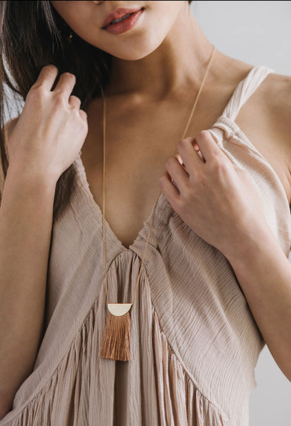 Dylan Fringe Necklace - Camel