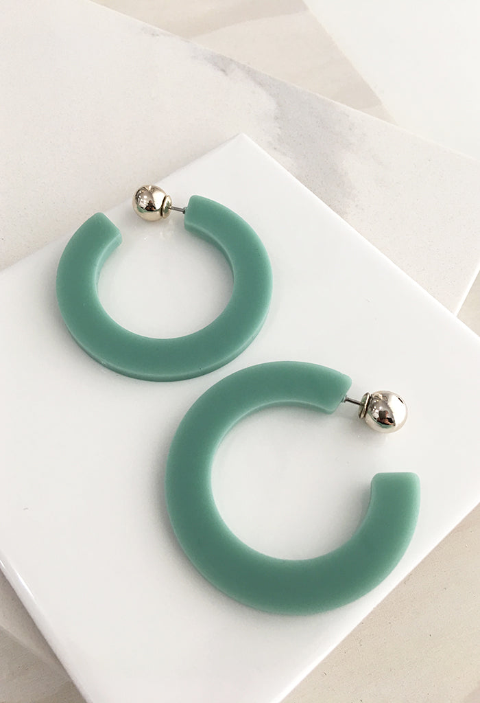 Acrylic Hoop Earrings - Green