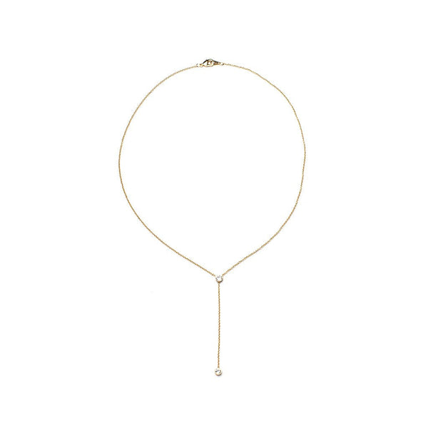 Duet Lariat - Gold & Clear