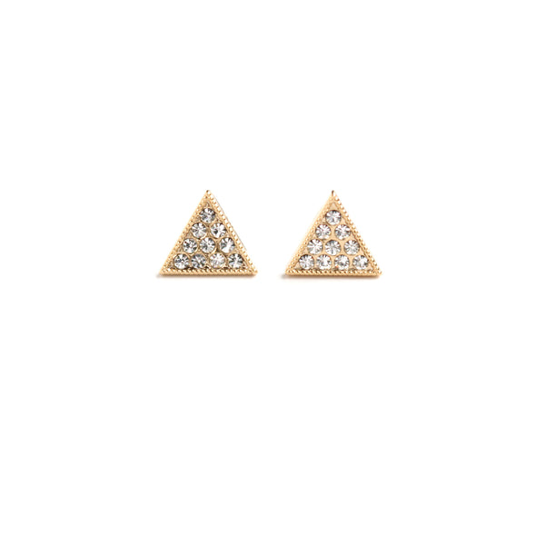 Pavé Triangle Post - Gold