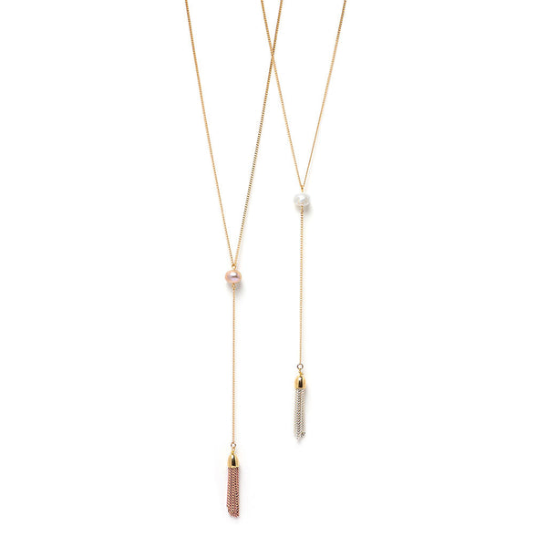 Pearl of Wisdom Lariat - White