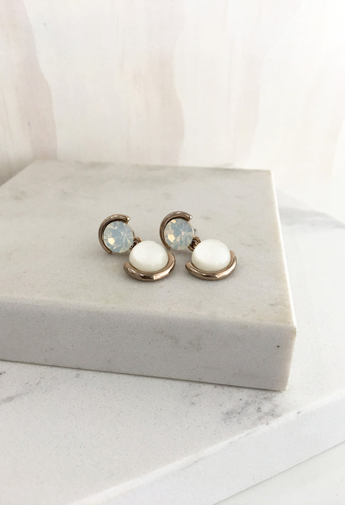 Two Stone Drop Earrings