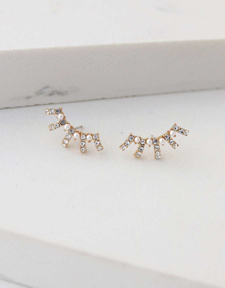 Radiant Pearl Climber Earrings