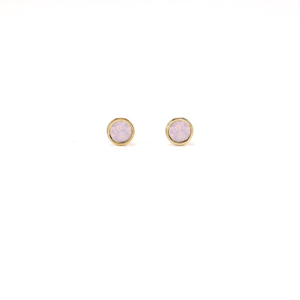 Swarovski Mini Post Earrings - Pink Opal