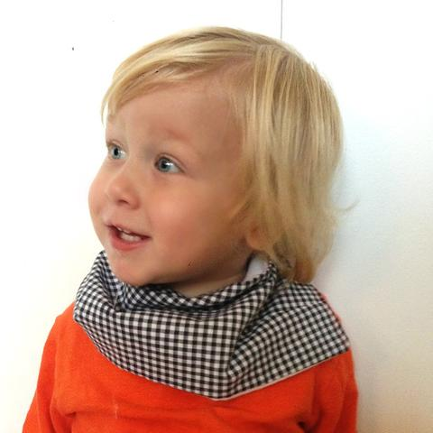 gingham checked boys scarf bib