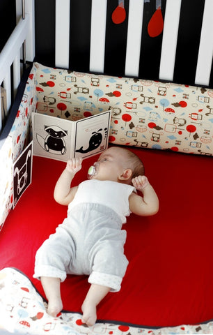 red crib sheet