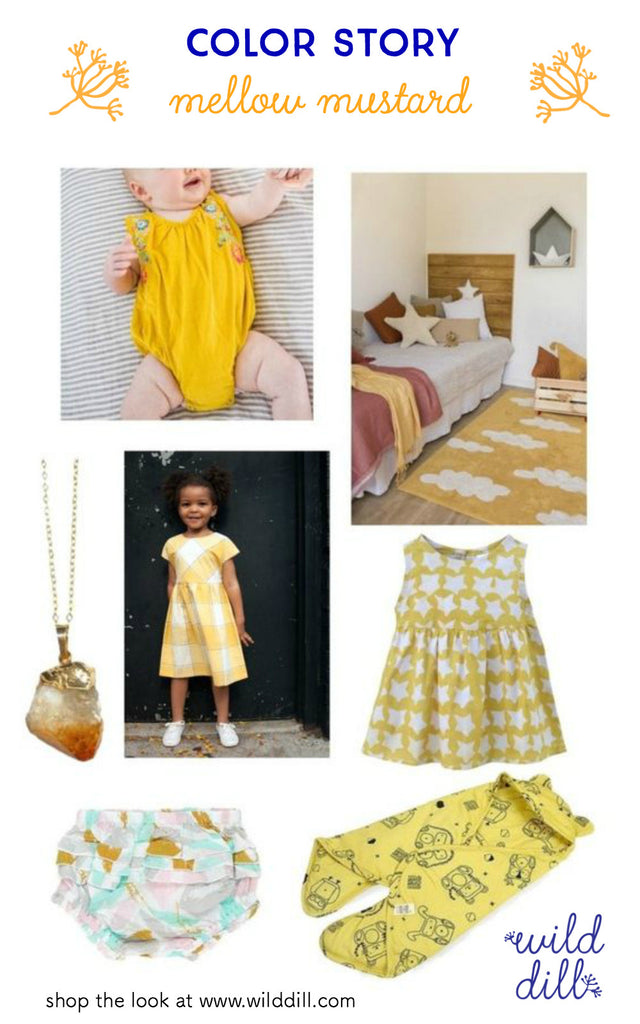 mellow mustard kids fashion color trend collage