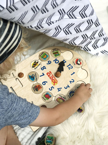 made in use wooden activity clock for preschoolers